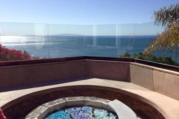 bronze glass railing balcony-min