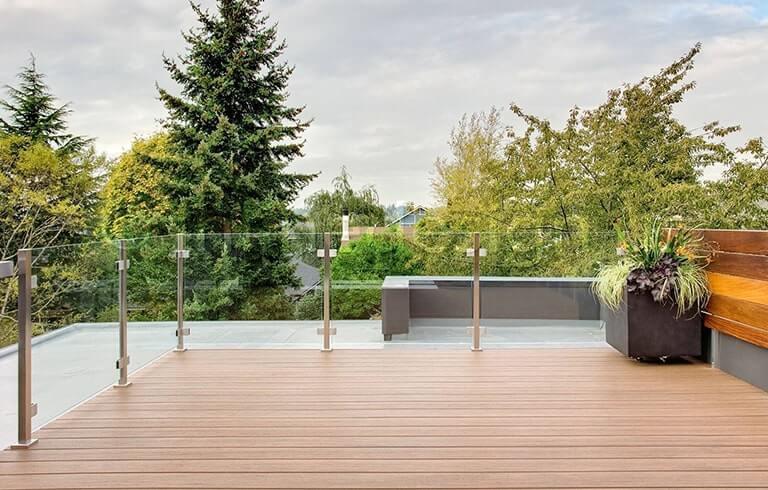 glass railing for wood